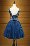 Cheap Dark Blue V Neck Tulle Short Homecoming Dress with Appliques N923