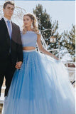 Two Piece A-line Off the Shoulder Open Back Light Blue Long Prom Dress with Beads,N758