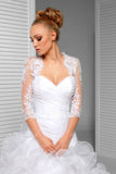White 3/4 Sheer Sleeve Bridal Cape Scalloped Lace Top, Lace Appliqued Wedding Wraps