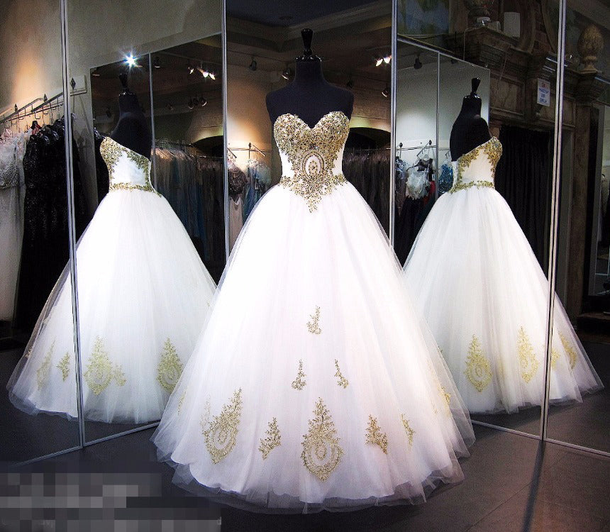 White Strapless Sweetheart Floor-length Ball Gown Bridal Dress with Gold Lace Appliques,N430
