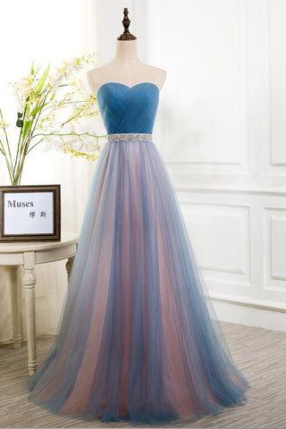 Sexy Pleated Sweetheart A Line Tulle Prom Dress with Beads Sashes N41