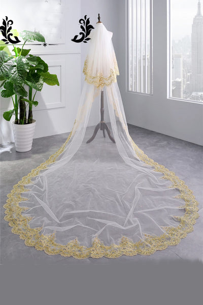 Luxury 3.5 Meters Gold Lace Edge Two Layers Long Wedding Veils with Comb,V008