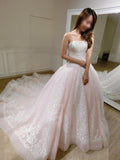 Gorgeous Ball Gown Baby Pink Lace Appliques Wedding Gown,Princess Bridal Dresses,N412