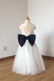 Cute Long Ivory Open Back Lace Tulle Flower Girl Dress with Navy Blue Bow F025