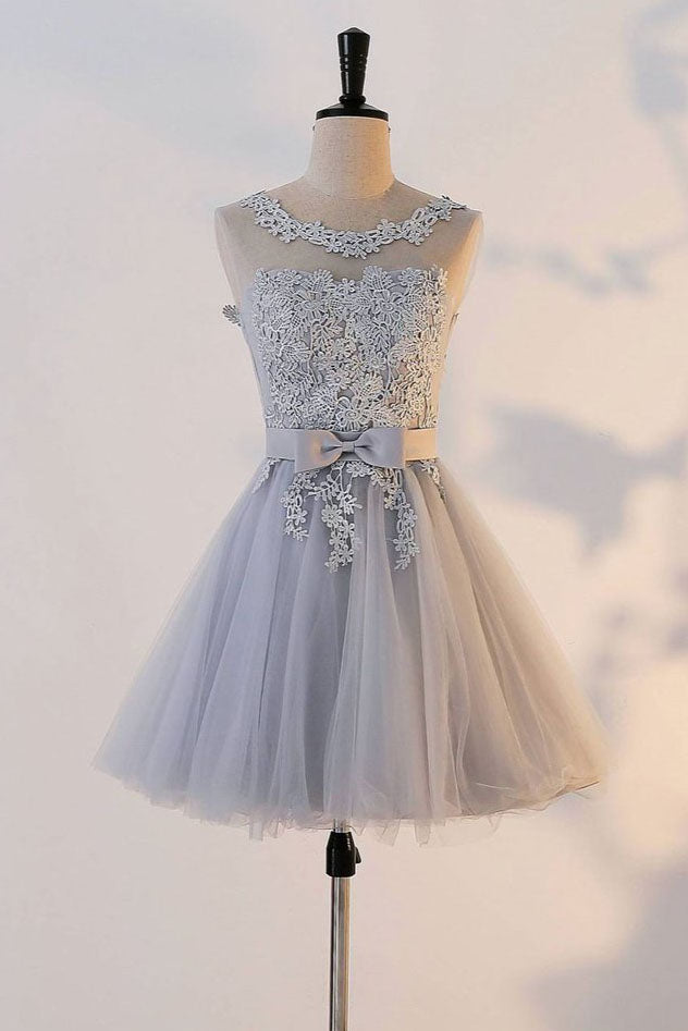 Cute A Line Appliqued Homecoming Dress with Bowknot, Cheap Tulle Short Prom Dress N903