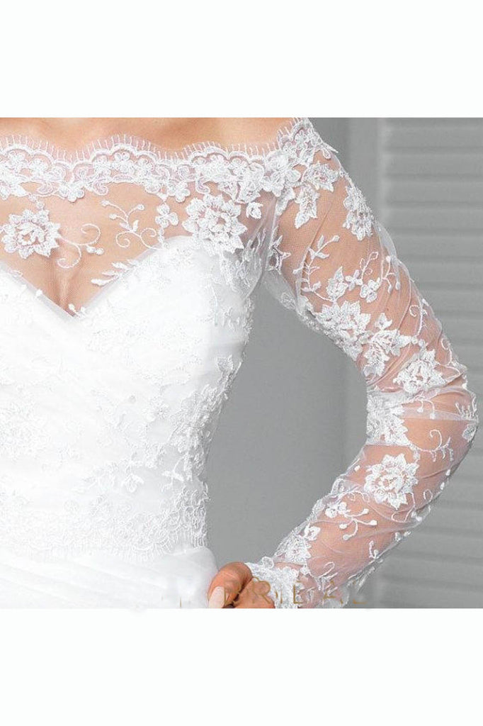 Lace Appliqued Long Sleeve Off-the-Shoulder Bridal Shawl, Sexy Wedding Shawl JK004