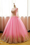 Ball Gown Pink Tulle Prom Dress with Gold Appliques, Long Sleeves Quinceanera Dress N1191