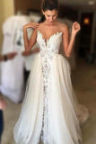 Ivory Wedding Dresses,Sheer Neck Lace Wedding Gowns,Tulle Vintage Special Bridal Dress,N156