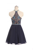 Navy Blue Halter Beading Homecoming Dress, Cheap Chiffon Ruched Graduation Dress N1027