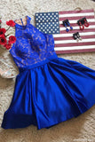 Royal Blue High Neck Satin Short Homecoming Dress with Lace Top, Cute Prom Dress N1081