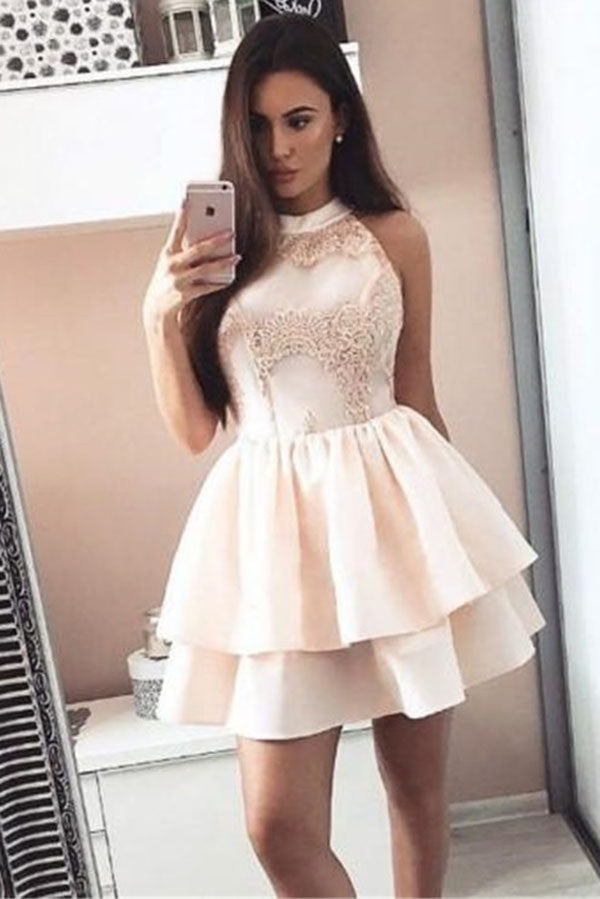 A Line Sleeveless Mini Homecoming Dresses, Short Two Layers Prom Dress with Appliques