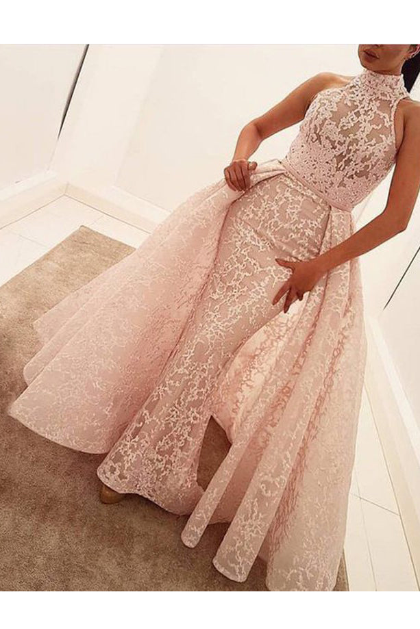 Unique Mermaid High Neck Sleeveless Sweep Train Pearl Pink Lace Prom Dress N832
