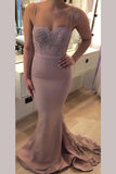 Spaghetti Straps Sweetheart Mermaid Bridesmaid Dress with Lace Appliques,N717