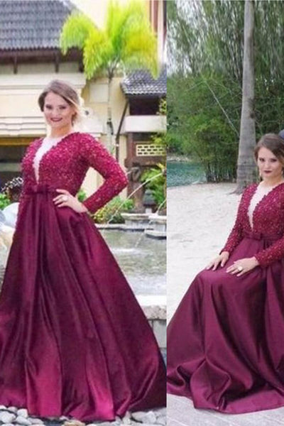Princess V-neck Long Sleeves Beading Sweep Train Satin Plus Size Dresses N1220