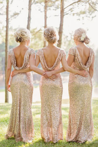 Champagne Sheath Sequined Cowl Floor-length Cap Sleeves Prom Dress,Bridesmaid Dresses,N422