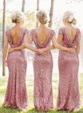 Sheath Sequined Cowl Floor-length Cap Sleeves Prom Dress,Bridesmaid Dresses,N422