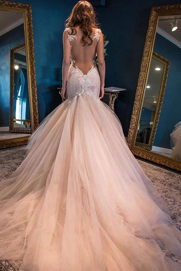 Gorgeous Mermaid Sweetheart Sleeveless Watteau Train Tulle Wedding Dresses with Lace Top,N348
