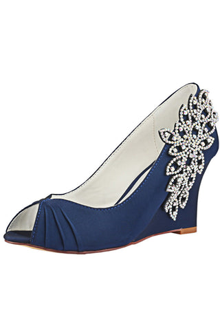Dark Blue Wedge Lace Wedding Shoes with Rhinestone, Peep Toe Wedding Party Shoes