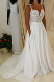 Ivory Spaghetti Strap Lace Top Wedding Dresses,A-line Sweetheart Beach Wedding Dress,N158