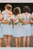 A-line V-neck Chiffon Knee-length Bridesmaid Dresses, One Shoulder Bridesmaid Dress N1316