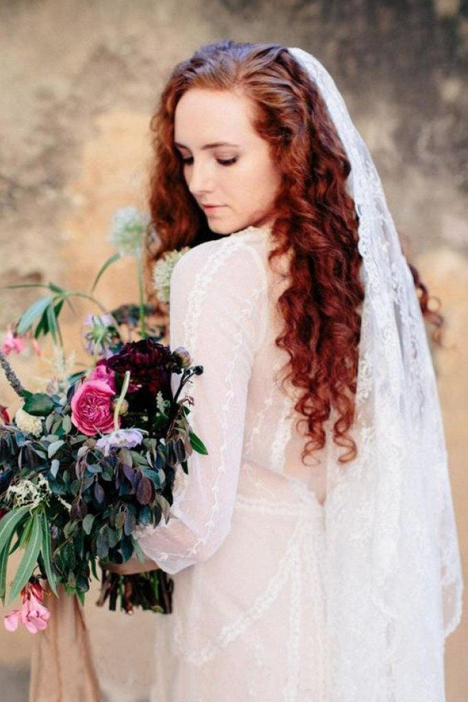 All Over Lace Unique Mantilla Church Bridal Veil, Gorgeous 3M Lace Wedding Veil