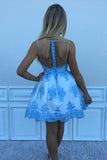 Blue Lace Appliqued Mini Homecoming Dress, A Line Sleeveless Tulle Short Prom Dress N1056