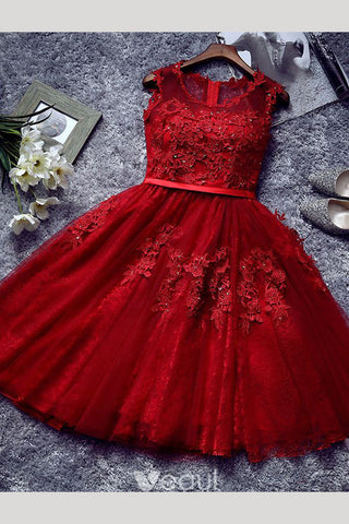Beautiful Short Appliqued Tulle Cocktail Dress Homecoming Dress With Sash N789
