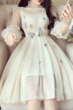 Beige 3/4 Sleeve Knee Length Prom Dress with Flowers, Sweet Homecoming Dresses