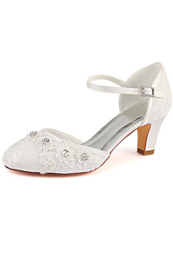 Ivory Wedding Shoes with Rhinestone, Fashion Lace Wedding Party Shoes