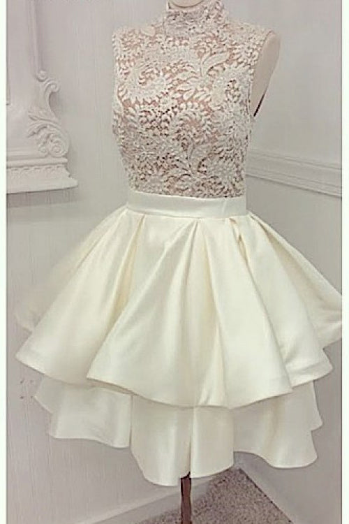 Ivory High Neck Satin Homecoming Dress with Lace, Short Two Layers Prom Dress N840