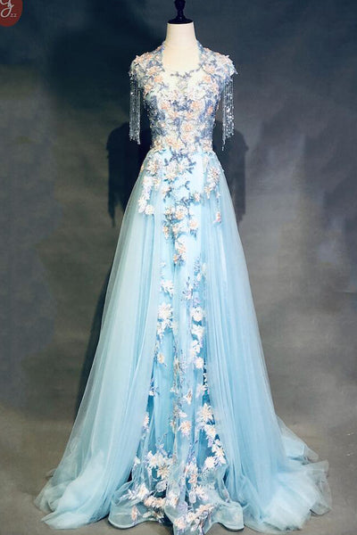 Unique Light Blue Cap Sleeves Prom Dress with Beading, Gorgeous Applique Formal Dress N1955