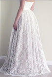 A Line Sweetheart Lace Wedding Dress, Cheap Strapless Lace Bridal Dresses N1115