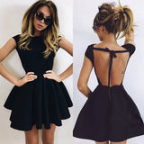 A-Line Scoop Backless Short Sleeves Black Ruched Satin Homecoming Dress,Cocktail Dress,N359