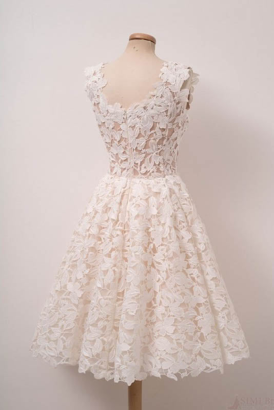 Ivory Lace Knee Length Homecoming Dresses, A Line Scoop Sleeveless Graduation Dress N1041