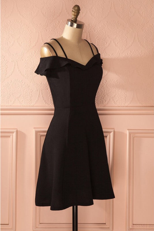 Simple Strap Black Short Satin Graduation Dresses, A Line Ruched Homecoming Dress N1011
