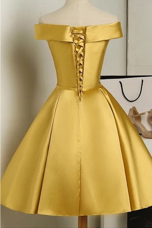 Simple Off the Shoulder Satin Short Prom Dress with Bowknot, A Line Homecoming Dress N1038
