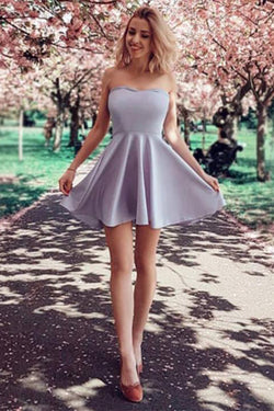 Lavender Strapless Mini A Line Homecoming Dress, Simple Short Prom Dresses