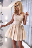A-Line Sheer Neck Cap Sleeves Open Back Short Homecoming Dress with Appliques N984