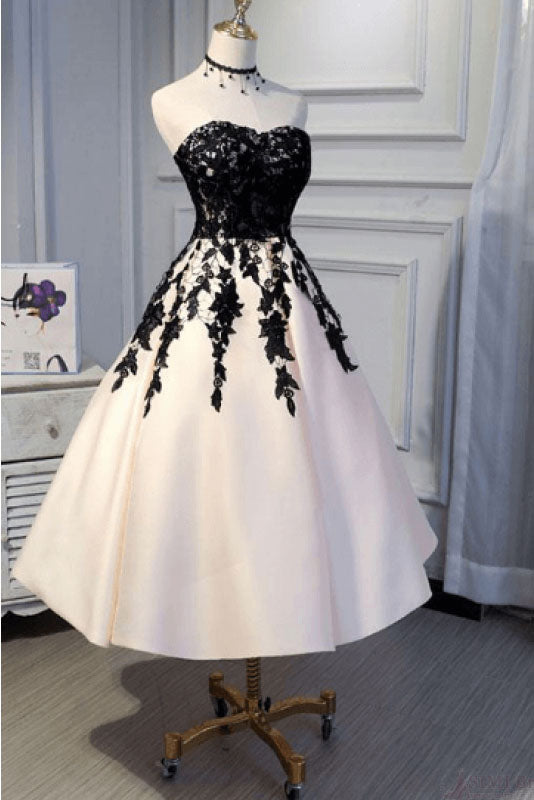 Ankle Length Strapless Prom Dress with Black Lace, A Line Princess Homecoming Dress N1031