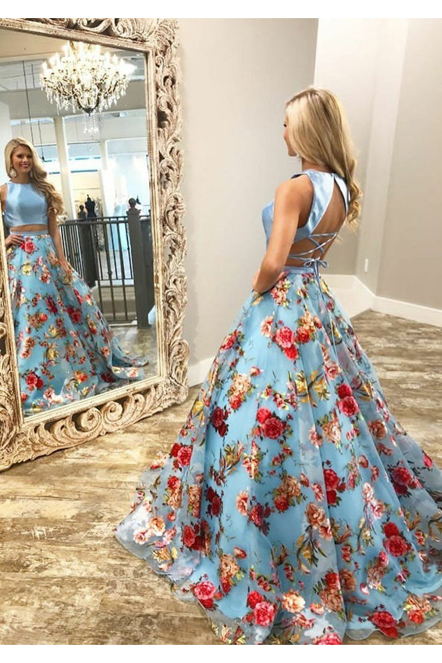 Two Piece Crew Open Back Sweep Train Light Blue Sleeveless Lace Prom Dress N1061