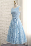 Cheap Tea Length Sleeveless Lace Prom Dress, A Line Tea Length Homecoming Gown N926