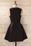 Simple Satin Short Homecoming Dress, Cheap Black Sleeveless Mini Prom Dresses N1034