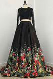 Two Piece Black Long Sleeve Formal Dress with Appliques, Long Prom Dress with Lace N1400