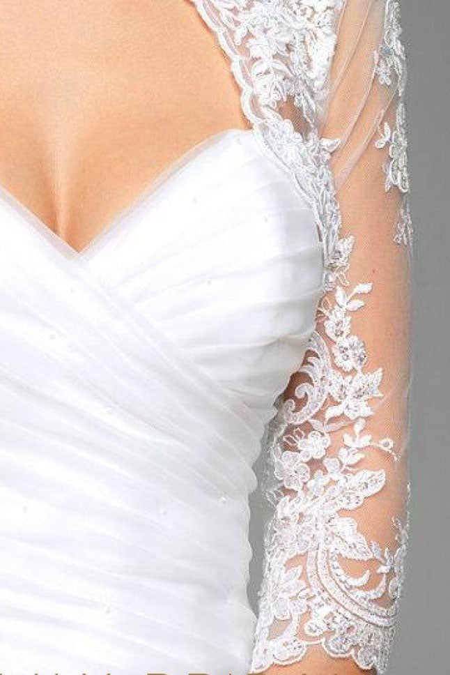 White 3/4 Sheer Sleeve Bridal Cape Scalloped Lace Top, Lace Appliqued Wedding Wraps JK015