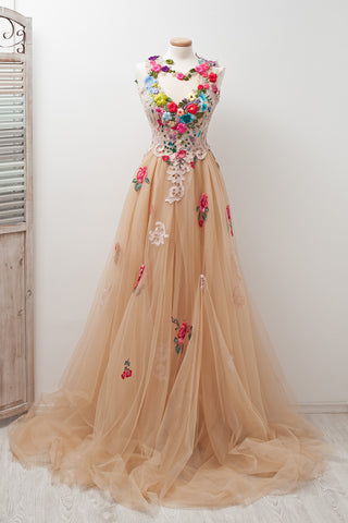 4ec2502cbbd Champagne A-line Scoop Sleeveless Open Back Appliques Prom Dress with Hand- Made Flowers