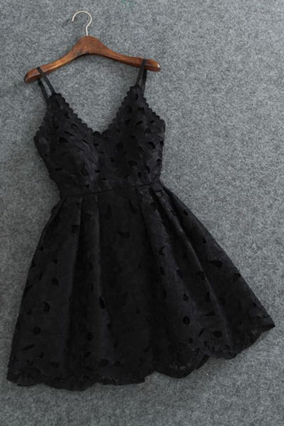 Cute Spaghetti Straps V Neck Black Lace Short Homecoming Dress,Mini Cocktail Dress,N370