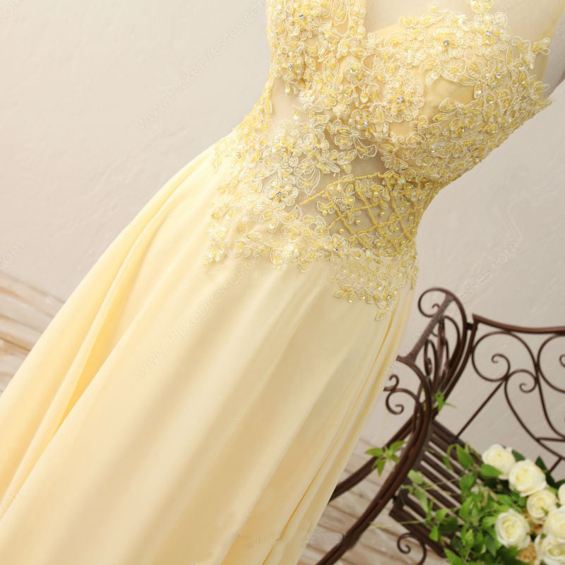 A Line Jewel Sleeveless Appliqued Prom Dress with Beading,Yellow Chiffon Evening Dress N828