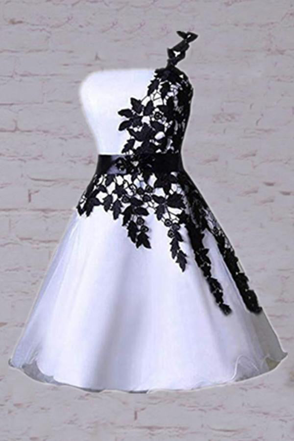 One Shoulder White Homecoming Dress with Black Lace, Knee Length Party Dress N1073