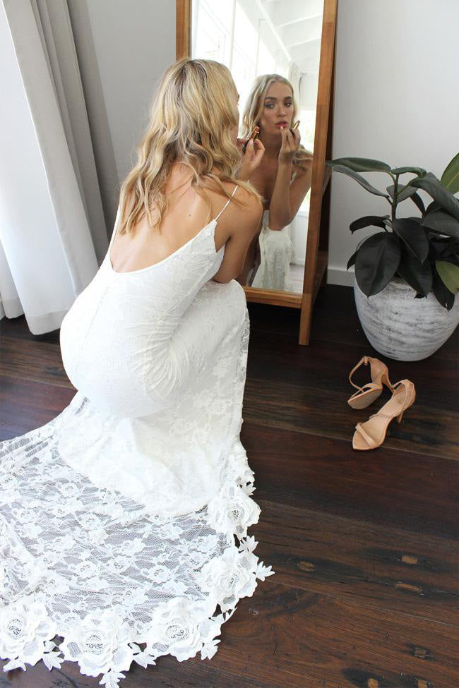 Spaghetti Straps Lace Wedding Dress with Side Slit, Ivory Long Backless Split Bridal Dresses N945