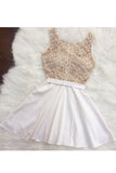 A Line Sleeveless Beading Mini Homecoming Dress, Short Beaded Prom Dress N875